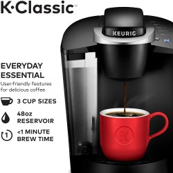 K-Classic Coffee Maker, Single Serve K-Cup Pod Coffee Brewer, 6 to 10 Oz. Brew Sizes, Black