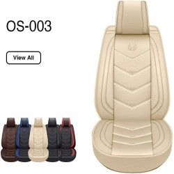 OASIS AUTO Leather&Fabric Car Seat Covers, Faux Leatherette Automotive Vehicle Cushion Cover for Cars SUV Pick-up Truck Universal Fit Set Auto Interior Accessories (008 Front Pair, Brown)
