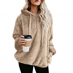 Oversized Sherpa Pullover Hoodie with Pockets Fuzzy Fleece Sweatshirt Fluffy Coat